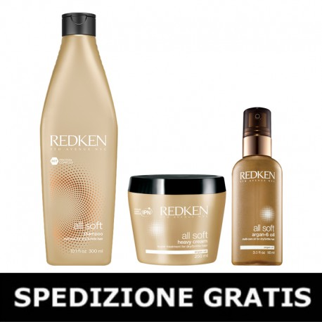 Kit Redken All Soft: Shampoo 300 ml + Heavy Cream 250 ml  + Argan-6 Oil 90 ml