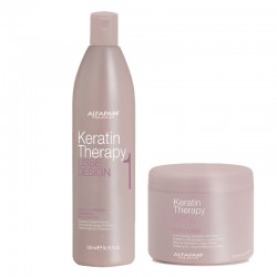 Kit Alfaparf Lisse Design Keratin Therapy Deep Cleansing Shampoo 500 ml + Easy Lisse Discipline Cond 500 ml