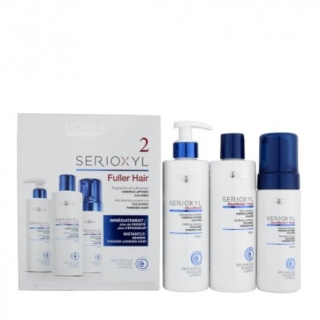L'Oreal Serioxyl Fuller hair kit 2 capelli colorati diradati